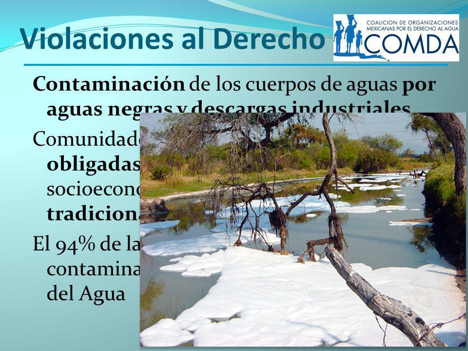 Violaciones al Derecho Contaminación de los cuerpos de aguas por aguas negras y descargas industriales Comunidades están acostumbradas y obligadas, a causa de la situación socioeconómica, a abastecerse tradicionalmente El 94% de las aguas dulces en México está contaminado.