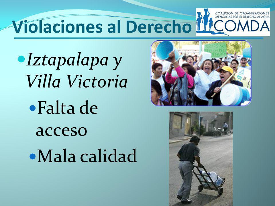 Violaciones al Derecho Iztapalapa y Villa Victoria Falta de acceso Mala calidad