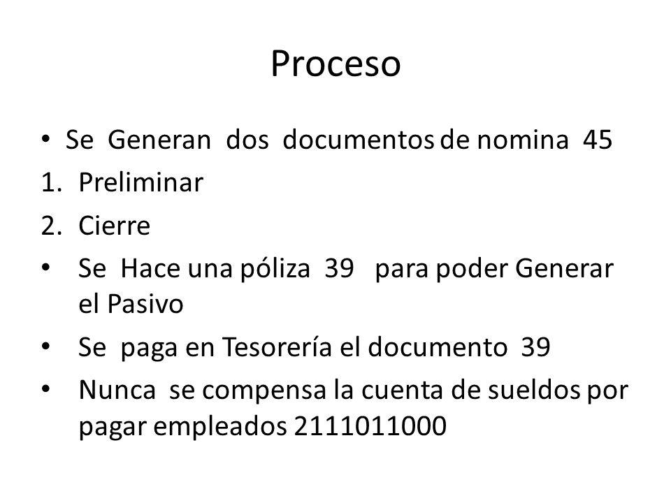 Proceso Se Generan dos documentos de nomina 45 1.Preliminar 2.Cierre Se Hace una póliza 39 para poder Generar el Pasivo Se paga en Tesorería el docume