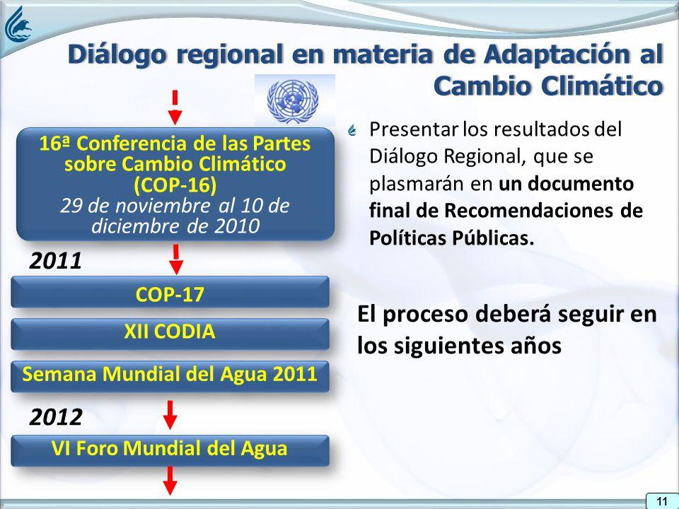 11 16ª Conferencia de las Partes sobre Cambio Climático (COP-16) 29 de noviembre al 10 de diciembre de 2010 16ª Conferencia de las Partes sobre Cambio Climático (COP-16) 29 de noviembre al 10 de diciembre de 2010 Presentar los resultados del Diálogo Regional, que se plasmarán en un documento final de Recomendaciones de Políticas Públicas.