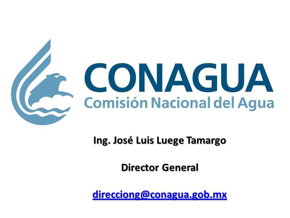Ing. José Luis Luege Tamargo Director General direcciong@conagua.gob.mx