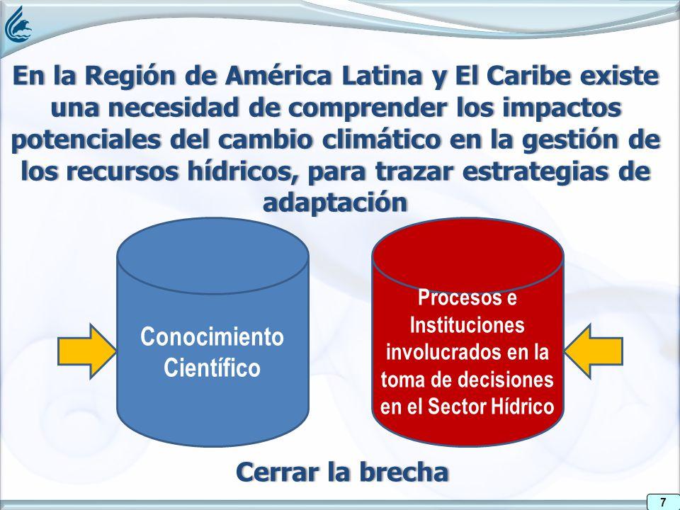 7 En la Región de América Latina y El Caribe existe una necesidad de comprender los impactos potenciales del cambio climático en la gestión de los recursos hídricos, para trazar estrategias de adaptación 7 Conocimiento Científico Procesos e Instituciones involucrados en la toma de decisiones en el Sector Hídrico Cerrar la brechaCerrar la brecha