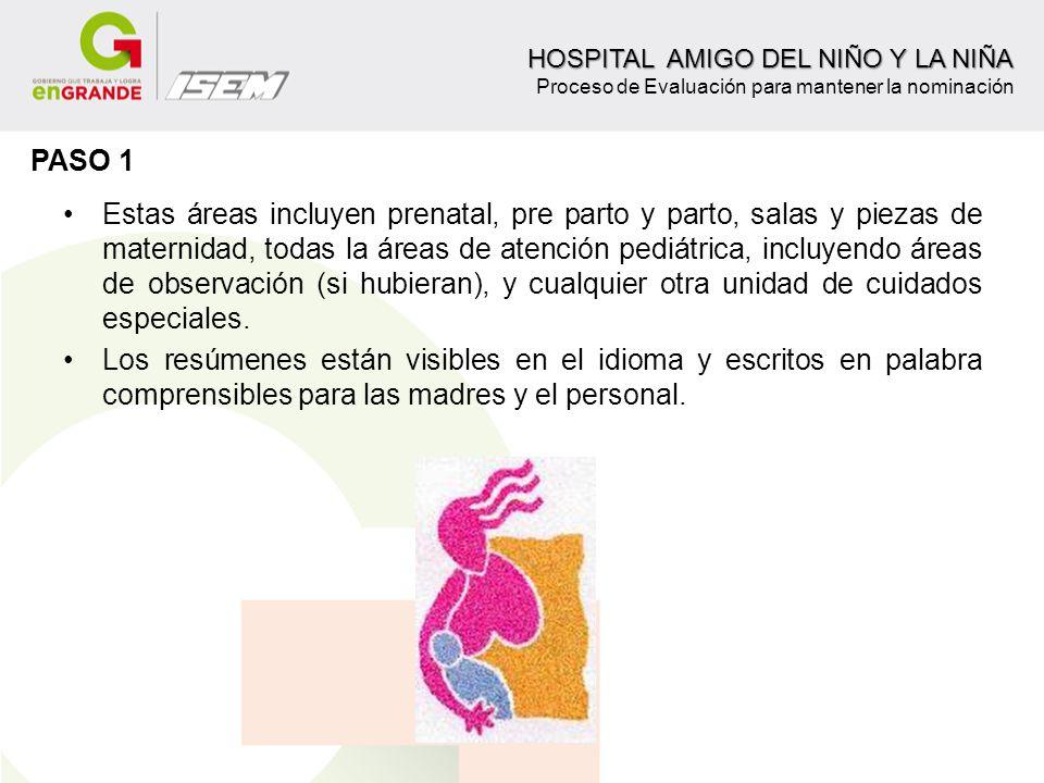 Estas áreas incluyen prenatal, pre parto y parto, salas y piezas de maternidad, todas la áreas de atención pediátrica, incluyendo áreas de observación