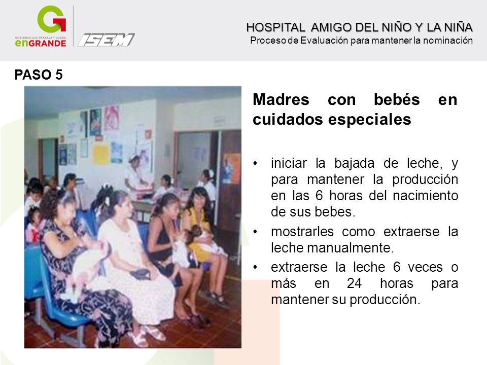 Madres con bebés en cuidados especiales iniciar la bajada de leche, y para mantener la producción en las 6 horas del nacimiento de sus bebes. mostrarl