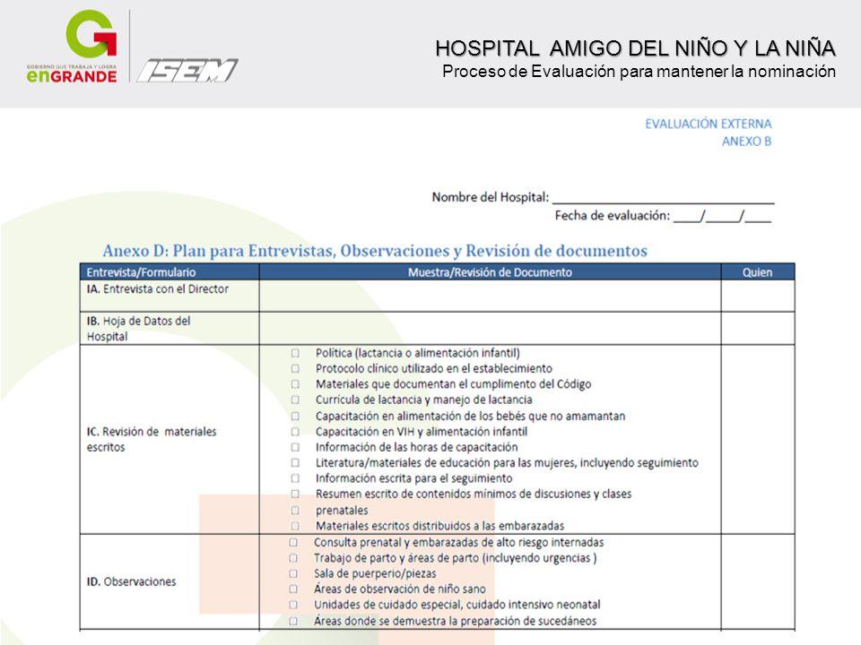 HOSPITAL AMIGO DEL NIÑO Y LA NIÑA HOSPITAL AMIGO DEL NIÑO Y LA NIÑA Proceso de Evaluación para mantener la nominación