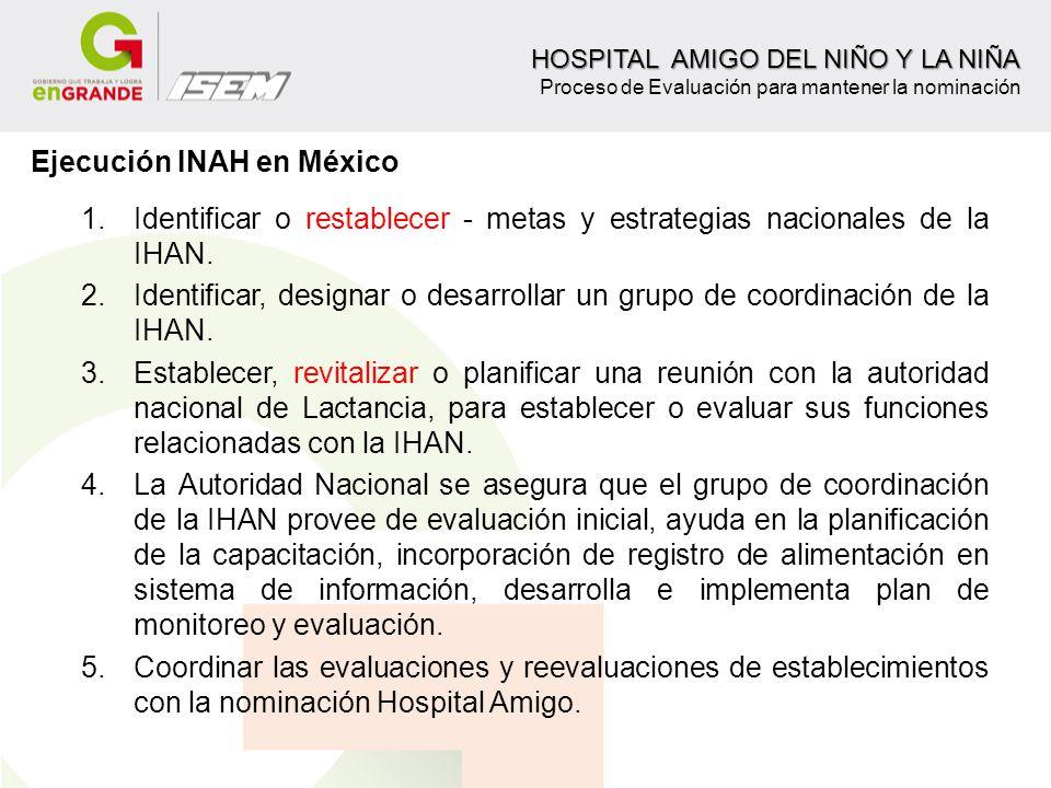 1.Identificar o restablecer - metas y estrategias nacionales de la IHAN. 2.Identificar, designar o desarrollar un grupo de coordinación de la IHAN. 3.