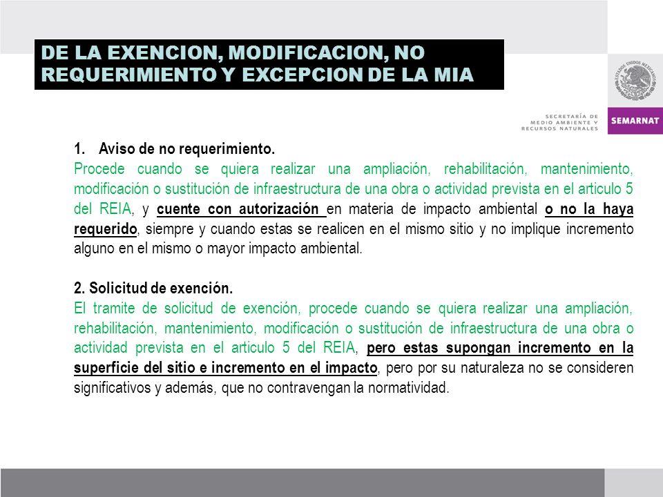 DE LA EXENCION, MODIFICACION, NO REQUERIMIENTO Y EXCEPCION DE LA MIA 1.Aviso de no requerimiento.
