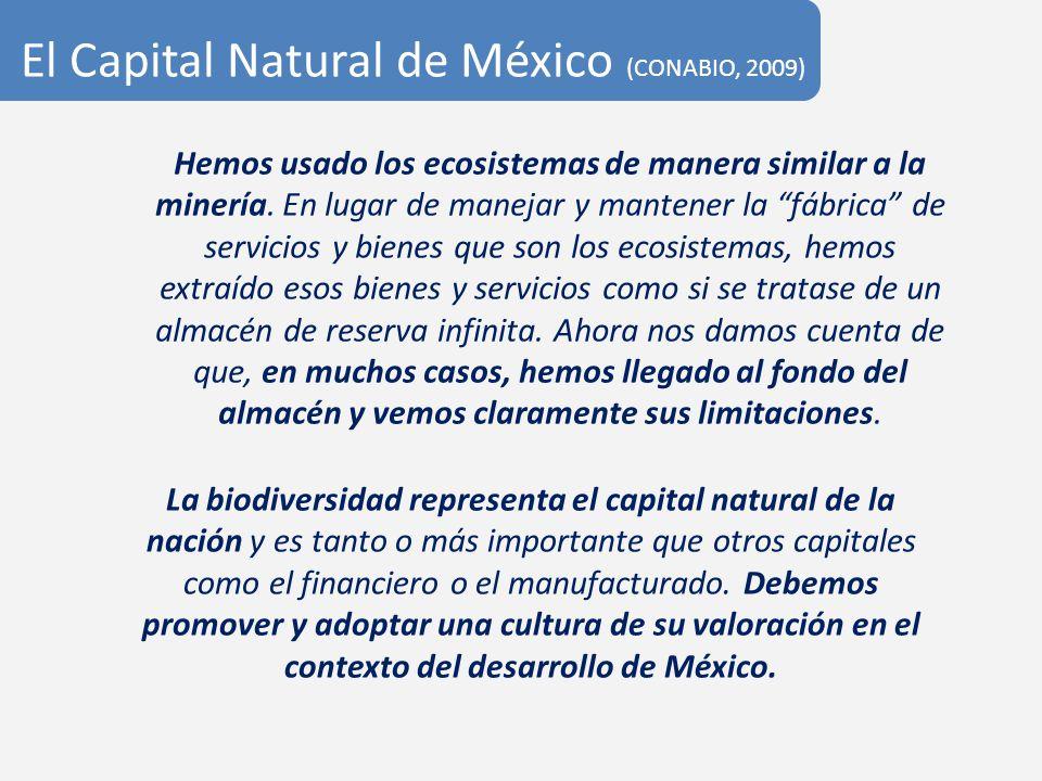 El Capital Natural de México (CONABIO, 2009) La biodiversidad representa el capital natural de la nación y es tanto o más importante que otros capital