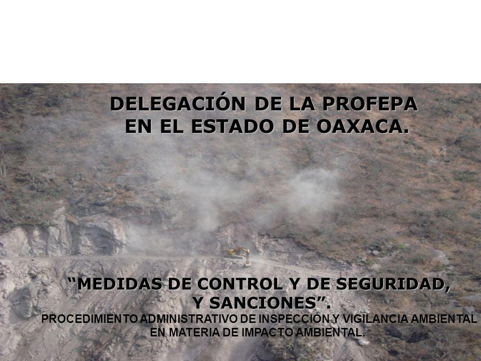DELEGACIÓN DE LA PROFEPA EN EL ESTADO DE OAXACA. MEDIDAS DE CONTROL Y DE SEGURIDAD, Y SANCIONES. PROCEDIMIENTO ADMINISTRATIVO DE INSPECCIÓN Y VIGILANC