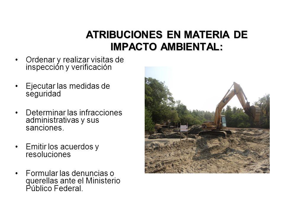 ATRIBUCIONES EN MATERIA DE IMPACTO AMBIENTAL: Ordenar y realizar visitas de inspección y verificación Ejecutar las medidas de seguridad Determinar las