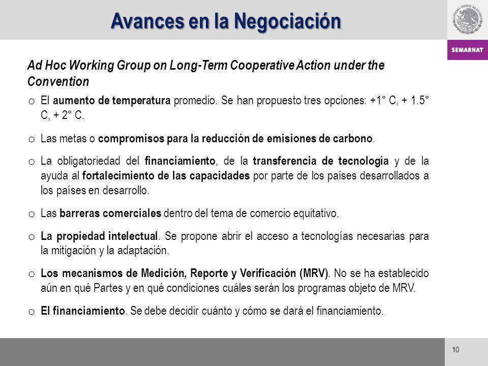 10 Ad Hoc Working Group on Long-Term Cooperative Action under the Convention o El aumento de temperatura promedio. Se han propuesto tres opciones: +1°