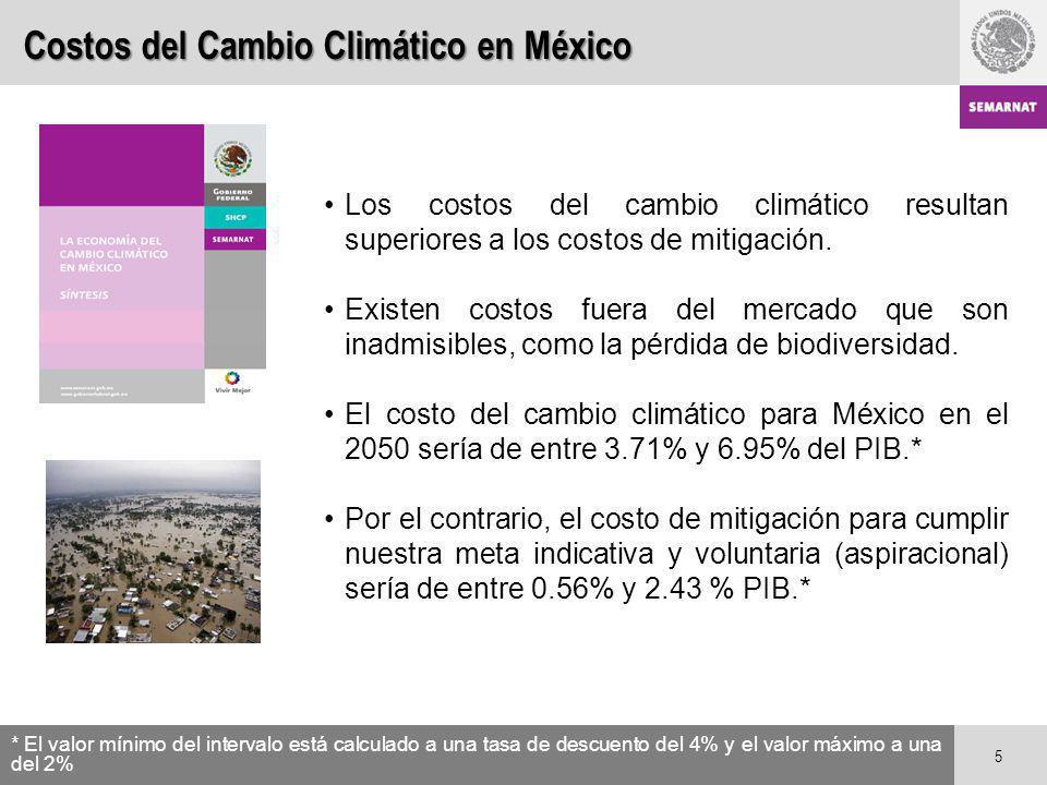 Costos del Cambio Climático en México Los costos del cambio climático resultan superiores a los costos de mitigación. Existen costos fuera del mercado