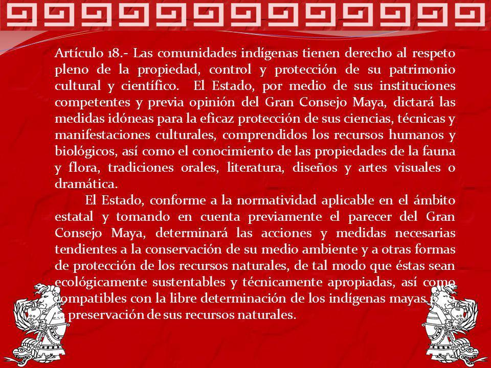 Artículo 18.- Las comunidades indígenas tienen derecho al respeto pleno de la propiedad, control y protección de su patrimonio cultural y científico.