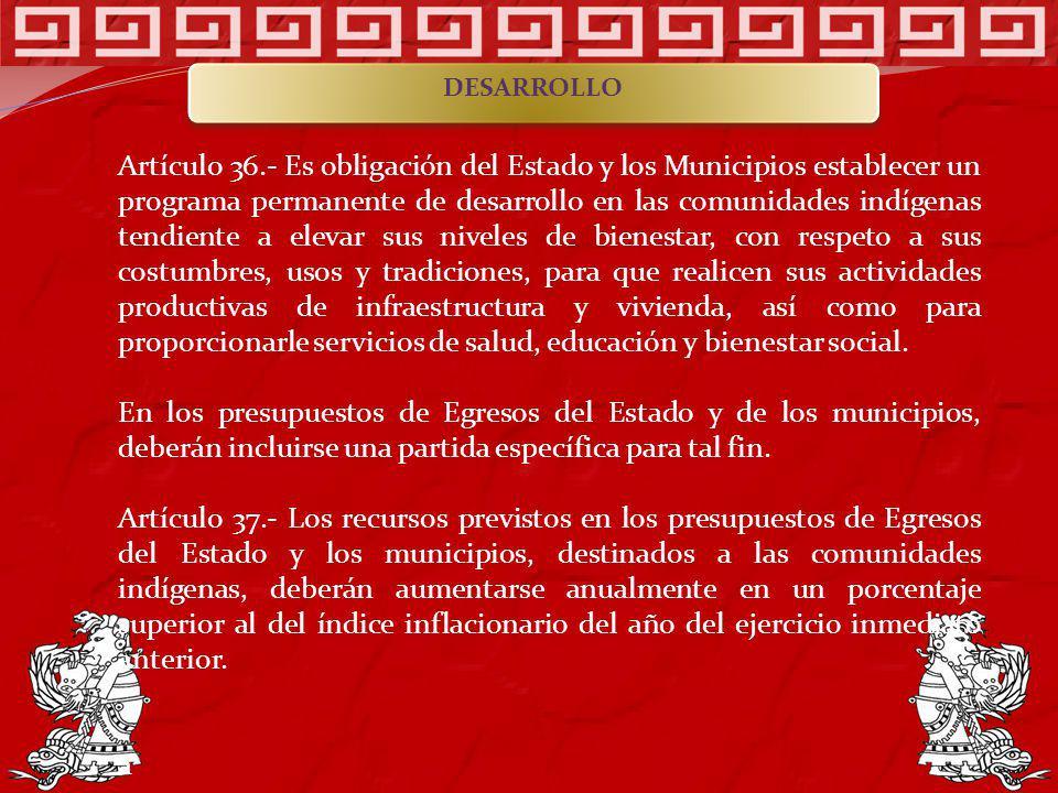 Artículo 36.- Es obligación del Estado y los Municipios establecer un programa permanente de desarrollo en las comunidades indígenas tendiente a eleva