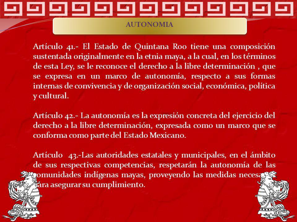 Artículo 41.- El Estado de Quintana Roo tiene una composición sustentada originalmente en la etnia maya, a la cual, en los términos de esta Ley, se le
