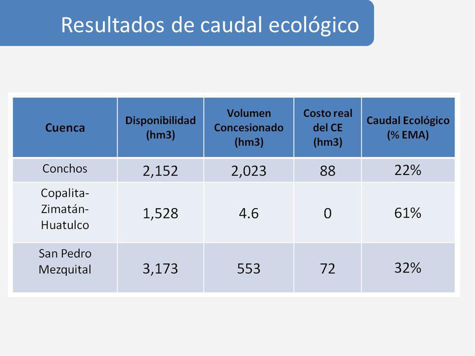 Resultados de caudal ecológico
