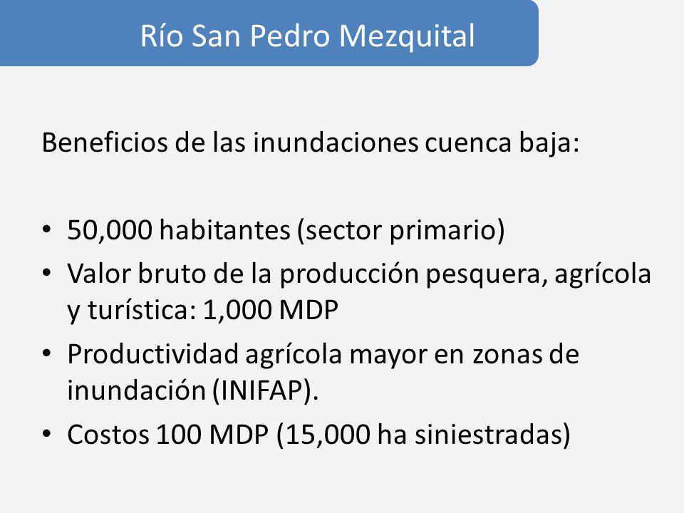 Río San Pedro Mezquital Beneficios de las inundaciones cuenca baja: 50,000 habitantes (sector primario) Valor bruto de la producción pesquera, agrícola y turística: 1,000 MDP Productividad agrícola mayor en zonas de inundación (INIFAP).