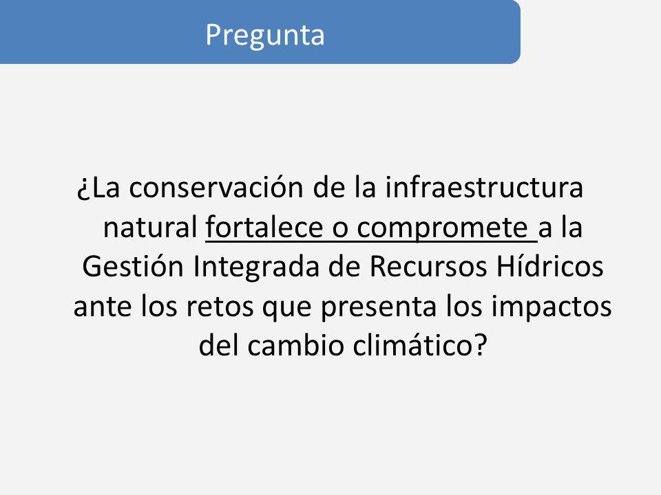 Propuesta El adecuado funcionamiento de la infraestructura natural reduce la incertidumbre en la toma de decisiones y proporciona flexibilidad ante eventos extremos, es decir crea resilencia