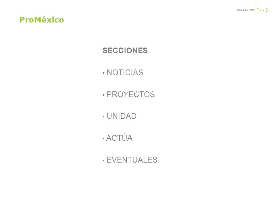 SECCIONES NOTICIAS PROYECTOS UNIDAD ACTÚA EVENTUALES secciones ProMéxico