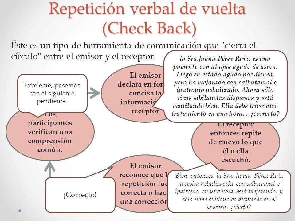 Repetición verbal de vuelta (Check Back) Éste es un tipo de herramienta de comunicación que