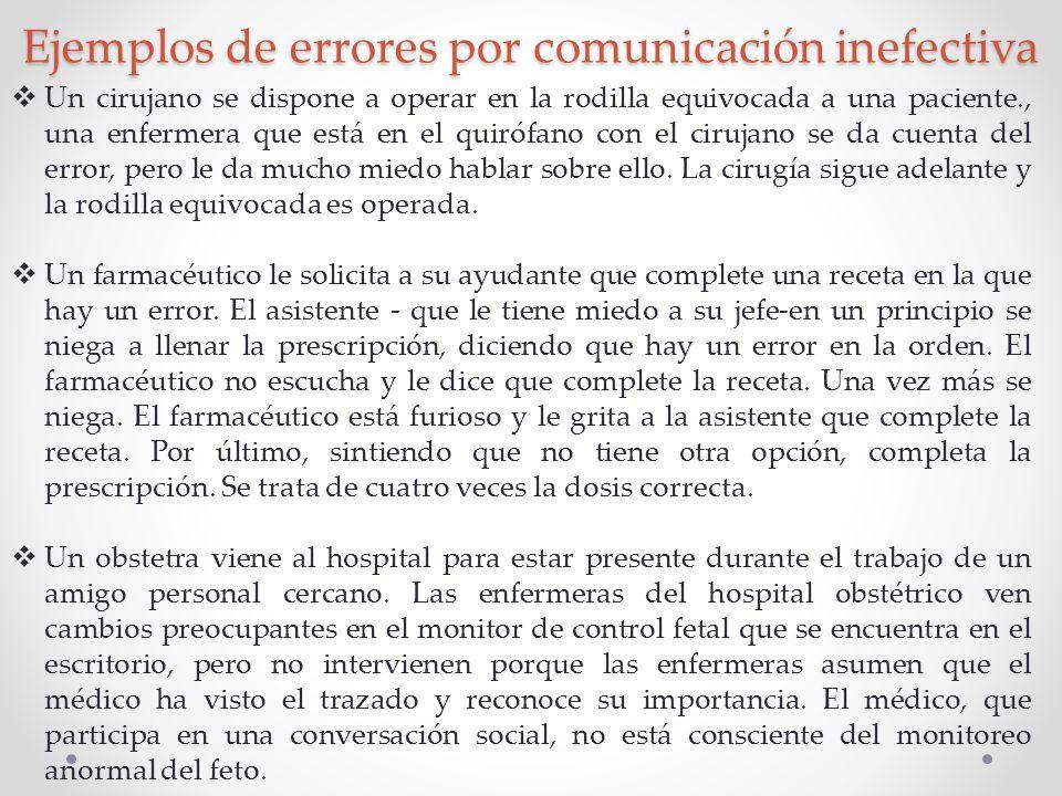 Ejemplos de errores por comunicación inefectiva Un cirujano se dispone a operar en la rodilla equivocada a una paciente., una enfermera que está en el