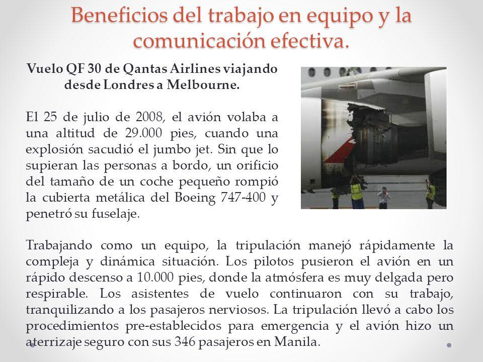 Beneficios del trabajo en equipo y la comunicación efectiva. Vuelo QF 30 de Qantas Airlines viajando desde Londres a Melbourne. El 25 de julio de 2008