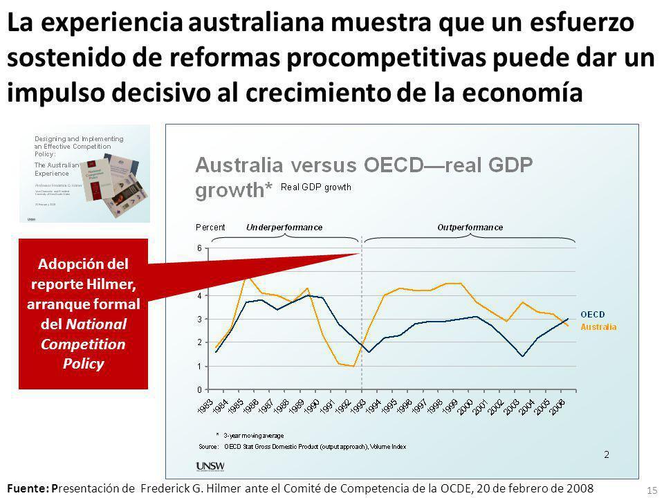 La experiencia australiana muestra que un esfuerzo sostenido de reformas procompetitivas puede dar un impulso decisivo al crecimiento de la economía Fuente: Presentación de Frederick G.