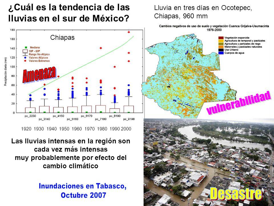 ¿Cuál es la tendencia de las lluvias en el sur de México? 1920 1930 1940 1950 1960 1970 1980 1990 2000 Las lluvias intensas en la región son cada vez