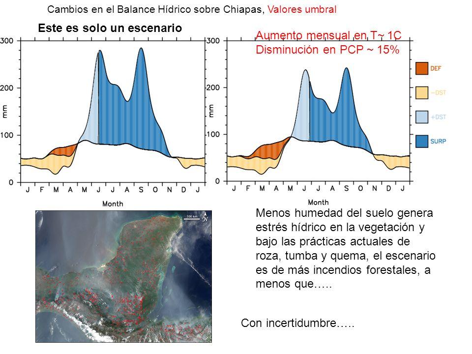 Cambios en el Balance Hídrico sobre Chiapas, Valores umbral Aumento mensual en T 1C Disminución en PCP 15% Menos humedad del suelo genera estrés hídri