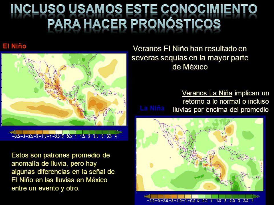 Veranos El Niño han resultado en severas sequías en la mayor parte de México Veranos La Niña implican un retorno a lo normal o incluso lluvias por enc