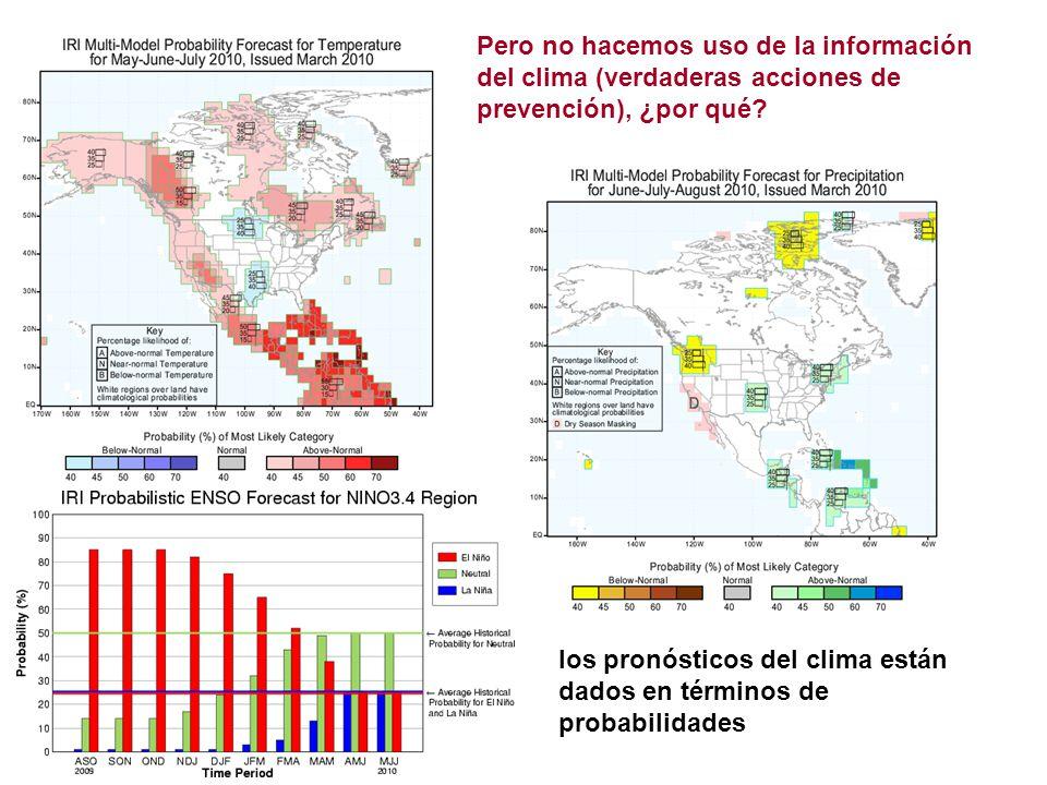 los pronósticos del clima están dados en términos de probabilidades Pero no hacemos uso de la información del clima (verdaderas acciones de prevención