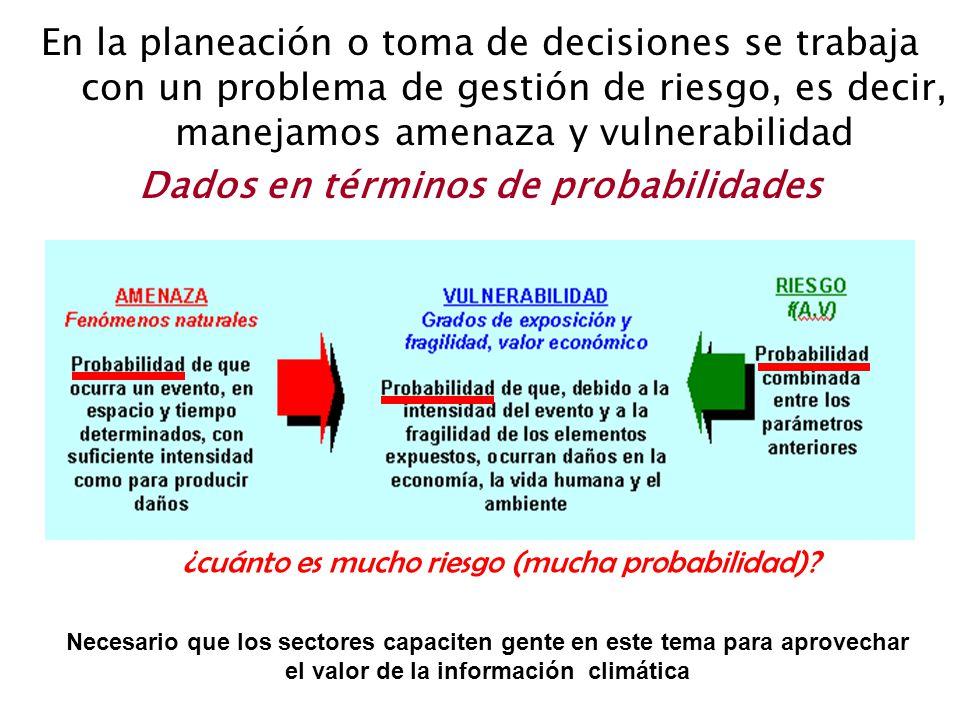 En la planeación o toma de decisiones se trabaja con un problema de gestión de riesgo, es decir, manejamos amenaza y vulnerabilidad Dados en términos
