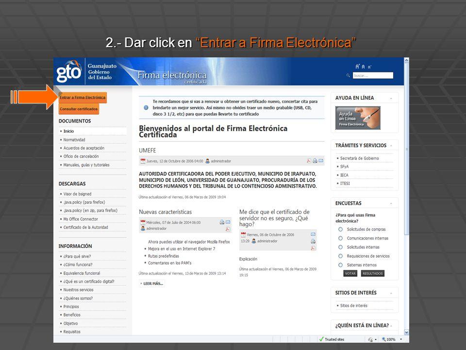 2.- Dar click en Entrar a Firma Electrónica