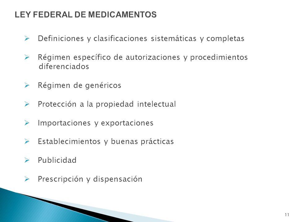 Definiciones y clasificaciones sistemáticas y completas Régimen específico de autorizaciones y procedimientos diferenciados Régimen de genéricos Prote