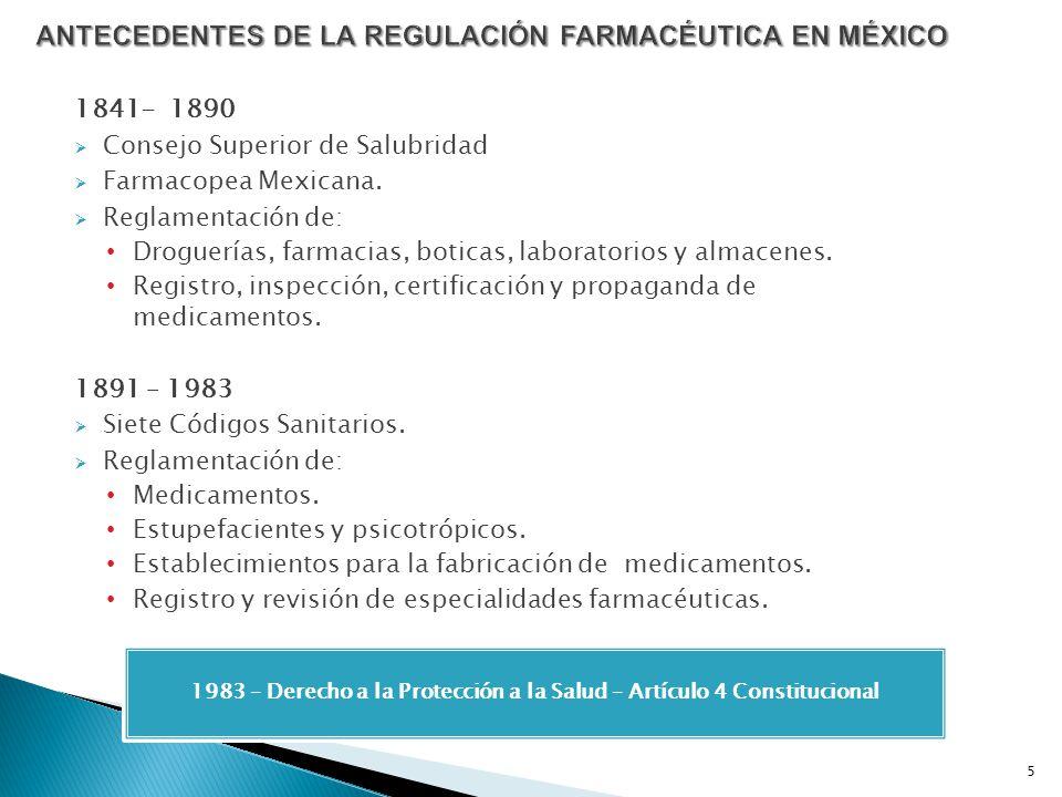 1841- 1890 Consejo Superior de Salubridad Farmacopea Mexicana. Reglamentación de: Droguerías, farmacias, boticas, laboratorios y almacenes. Registro,