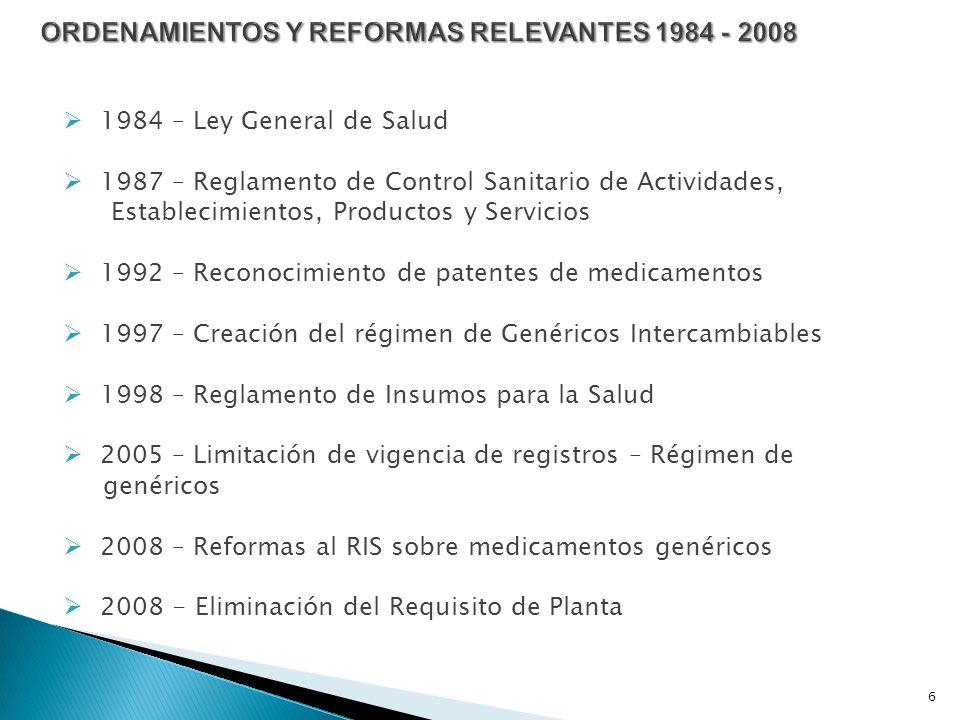 1984 – Ley General de Salud 1987 – Reglamento de Control Sanitario de Actividades, Establecimientos, Productos y Servicios 1992 – Reconocimiento de patentes de medicamentos 1997 – Creación del régimen de Genéricos Intercambiables 1998 – Reglamento de Insumos para la Salud 2005 – Limitación de vigencia de registros – Régimen de genéricos 2008 – Reformas al RIS sobre medicamentos genéricos 2008 - Eliminación del Requisito de Planta 6