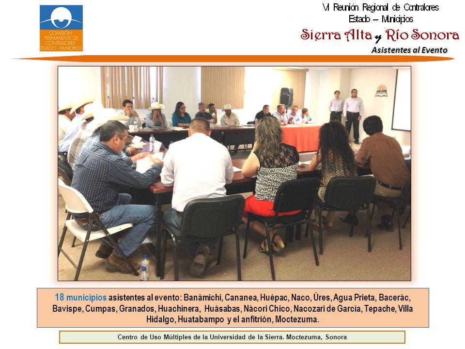 Asistentes al Evento 18 municipios asistentes al evento: Banámichi, Cananea, Huépac, Naco, Úres, Agua Prieta, Bacerác, Bavispe, Cumpas, Granados, Huachinera, Huásabas, Nácori Chico, Nacozari de García, Tepache, Villa Hidalgo, Huatabampo y el anfitrión, Moctezuma.