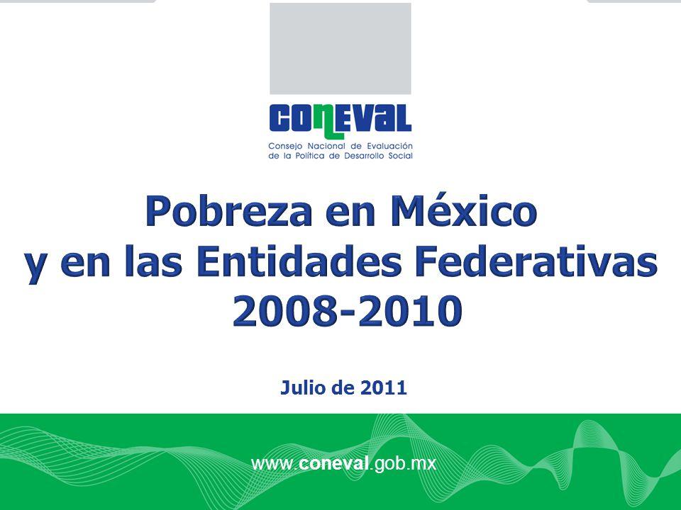 Fuente: estimaciones del CONEVAL con base en el MCS-ENIGH 2008 y 2010 Variación porcentual 20082010 Porcentaje49.052.0 Millones de personas 53.758.5 La incidencia aumentó 6.1% La incidencia aumentó 6.1% Población con ingreso menor a la línea de bienestar en los Estados Unidos Mexicanos