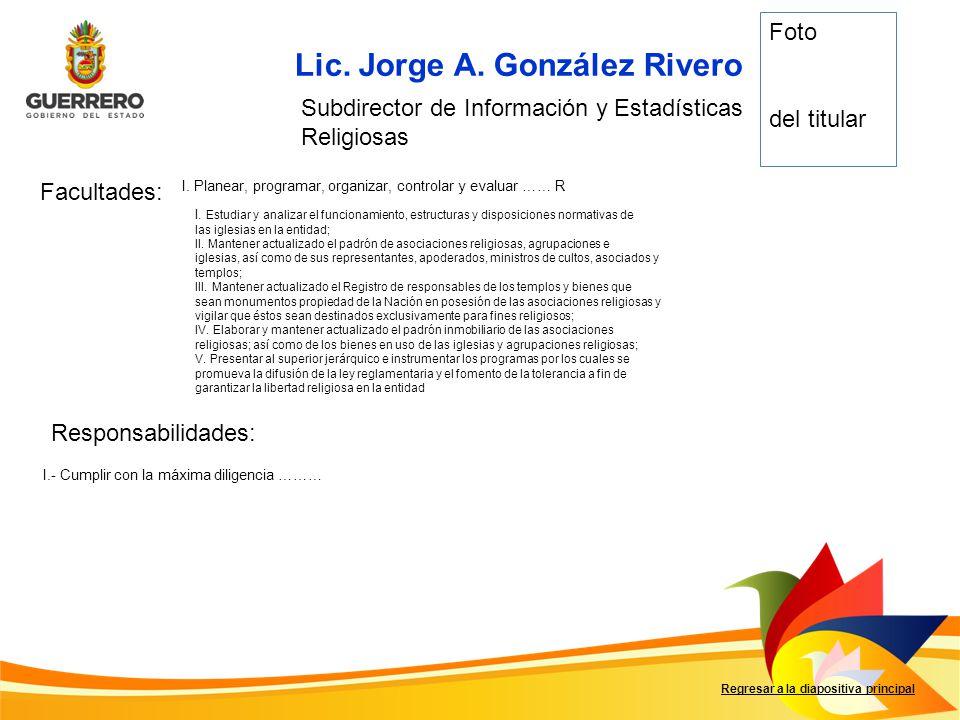 Lic.Nombre Facultades: Responsabilidades: Regresar a la diapositiva principal Cargo I……….