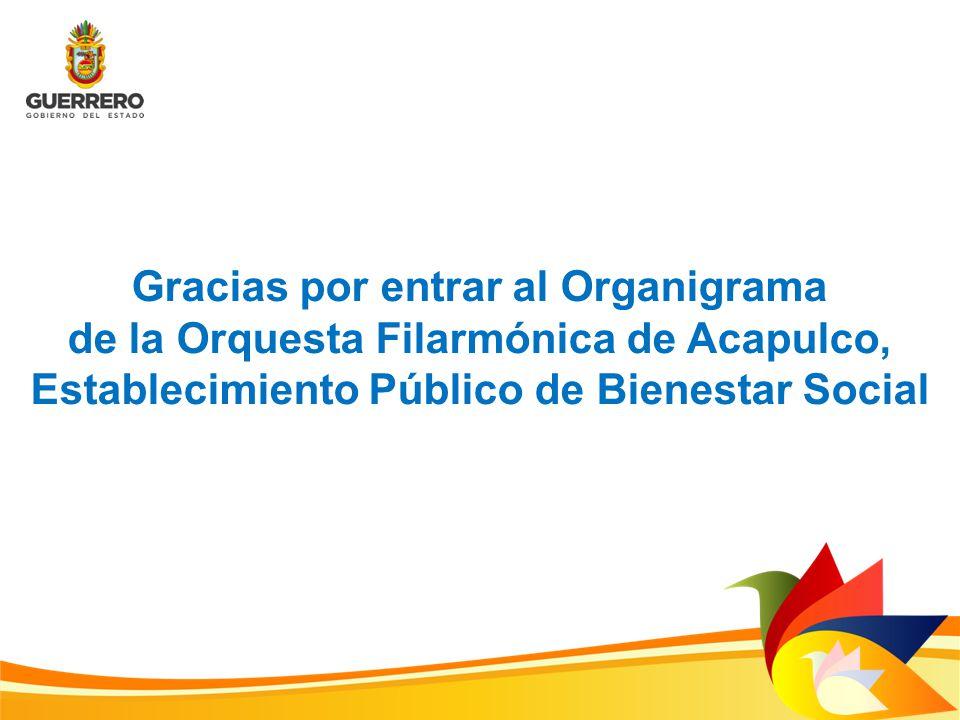 Gracias por entrar al Organigrama de la Orquesta Filarmónica de Acapulco, Establecimiento Público de Bienestar Social