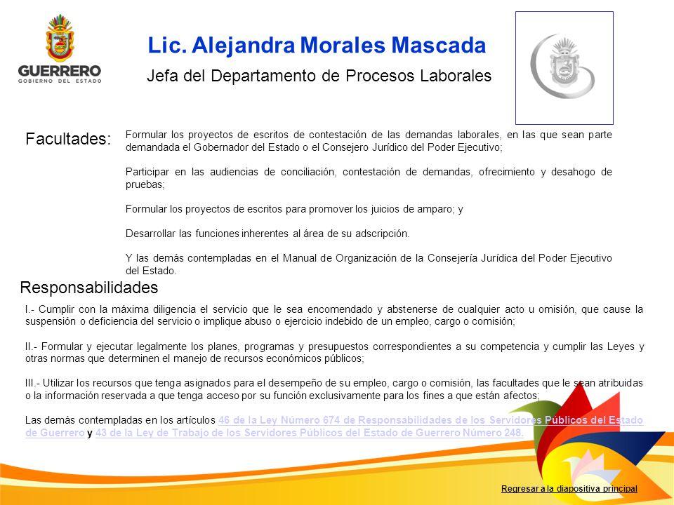 Facultades: Responsabilidades Regresar a la diapositiva principal Formular los proyectos de escritos de contestación de las demandas laborales, en las