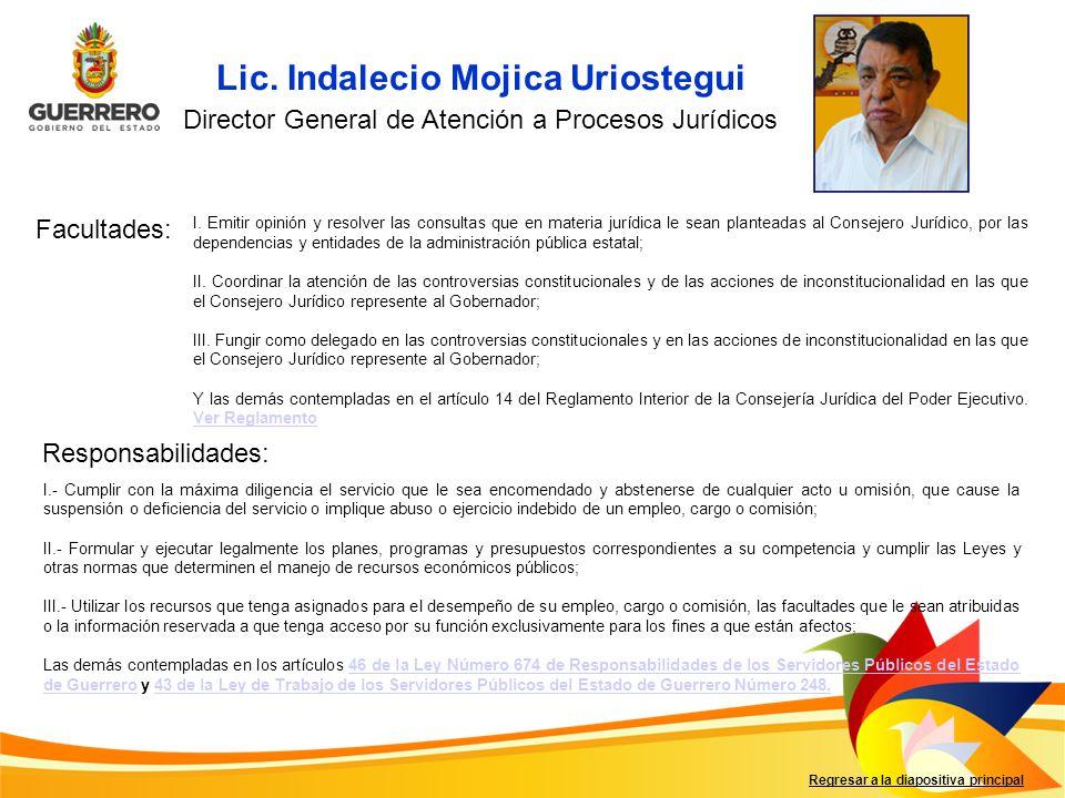 Lic. Indalecio Mojica Uriostegui Facultades: Responsabilidades: Regresar a la diapositiva principal Director General de Atención a Procesos Jurídicos