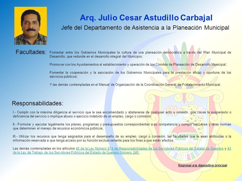 Arq. Julio Cesar Astudillo Carbajal Facultades: Responsabilidades: Regresar a la diapositiva principal Jefe del Departamento de Asistencia a la Planea