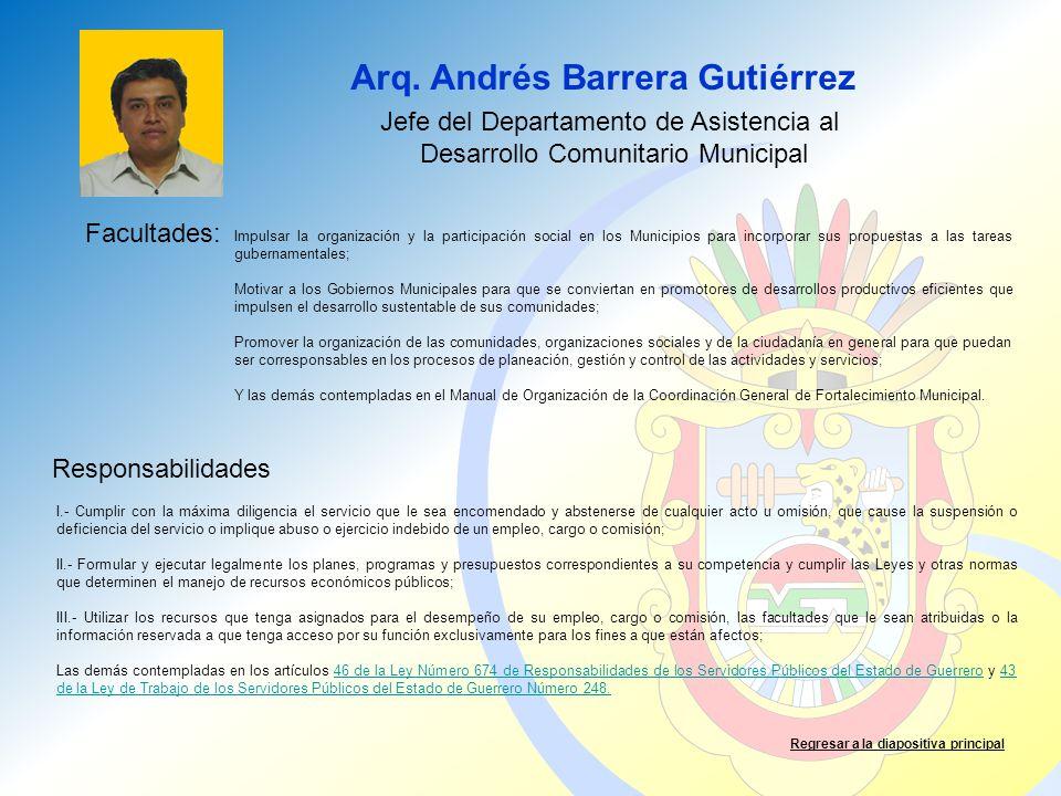 Arq. Andrés Barrera Gutiérrez Facultades: Responsabilidades Regresar a la diapositiva principal Jefe del Departamento de Asistencia al Desarrollo Comu