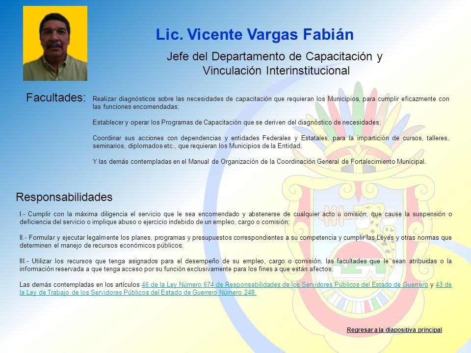 Lic. Vicente Vargas Fabián Facultades: Responsabilidades Regresar a la diapositiva principal Jefe del Departamento de Capacitación y Vinculación Inter