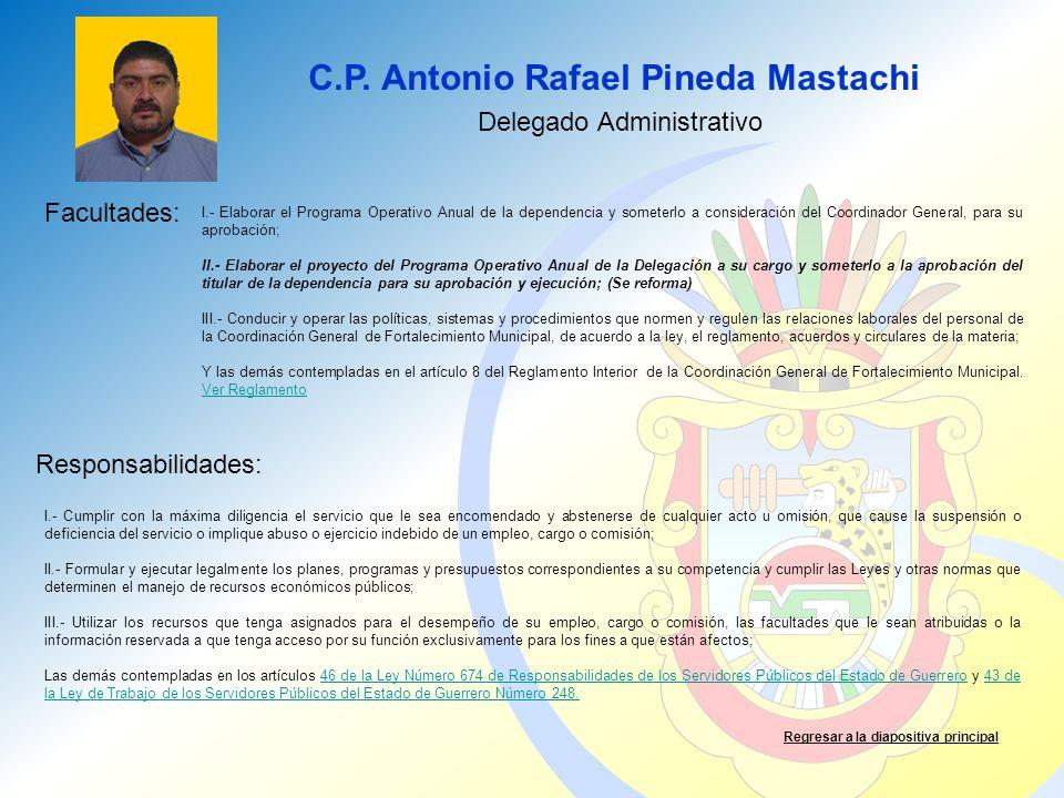 C.P. Antonio Rafael Pineda Mastachi Facultades: Responsabilidades: Regresar a la diapositiva principal Delegado Administrativo I.- Elaborar el Program