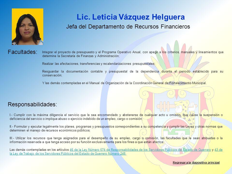 Lic. Leticia Vázquez Helguera Facultades: Responsabilidades: Regresar a la diapositiva principal Jefa del Departamento de Recursos Financieros Integra