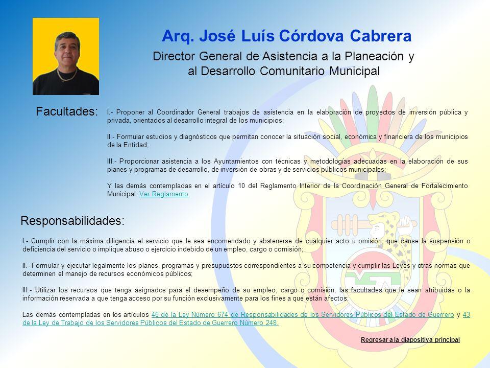 Arq. José Luís Córdova Cabrera Facultades: Responsabilidades: Regresar a la diapositiva principal Director General de Asistencia a la Planeación y al
