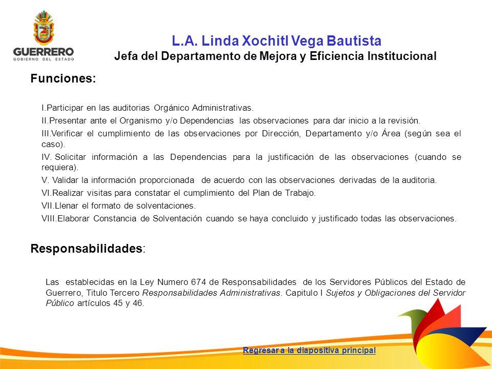 Funciones: Responsabilidades: L.A. Linda Xochitl Vega Bautista Jefa del Departamento de Mejora y Eficiencia Institucional I.Participar en las auditori