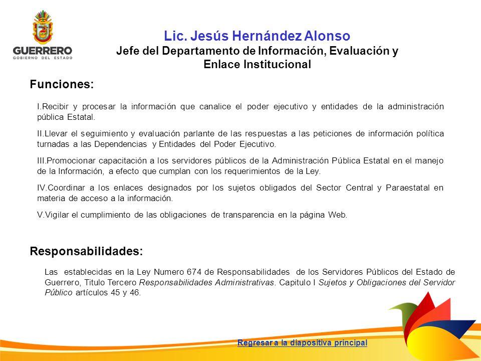 Lic. Jesús Hernández Alonso Jefe del Departamento de Información, Evaluación y Enlace Institucional Funciones: Responsabilidades: Las establecidas en